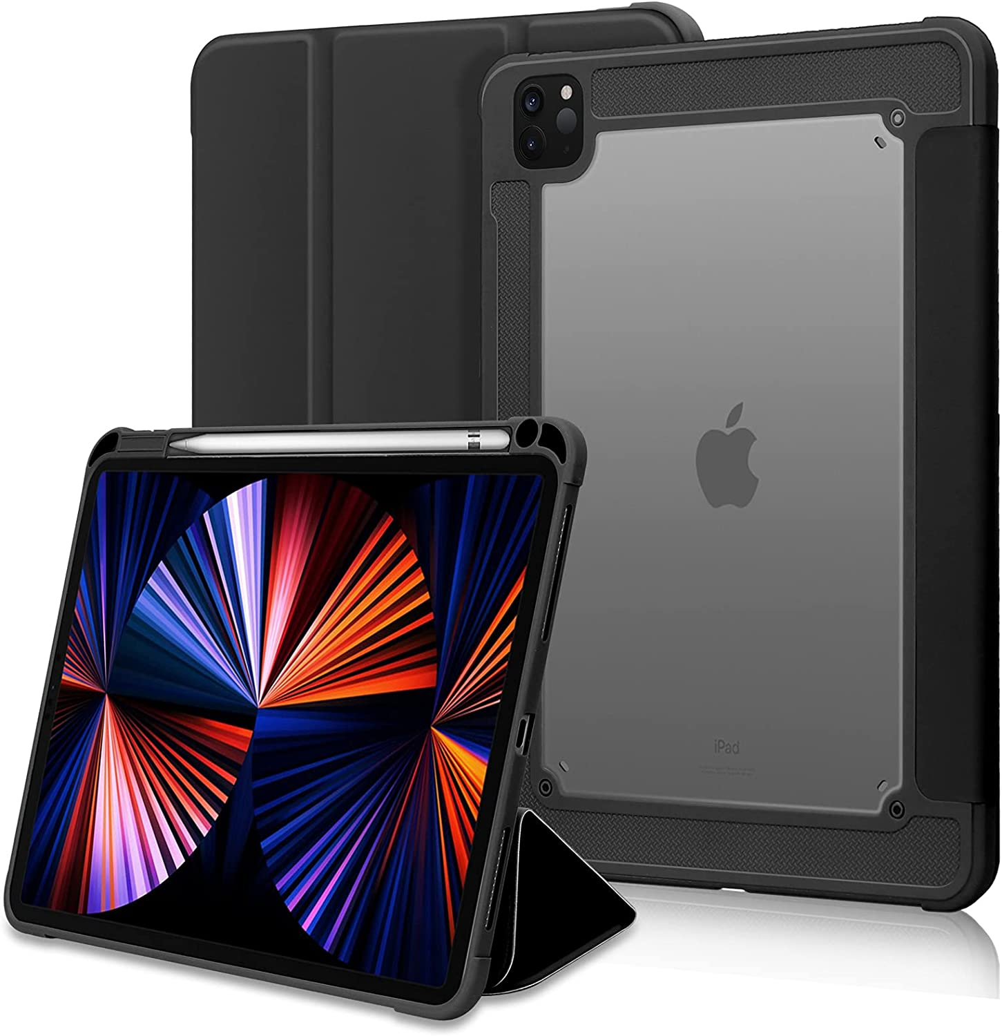 FYY Case for iPad Pro 12.9 2021/2020, [Support 2nd Pencil Charging and Auto Wake/Sleep] Slim Stand Protective Case Cover with Pencil Holder for iPad Pro 12.9 Inch 5th Gen 2021/4th Gen 2020 Black