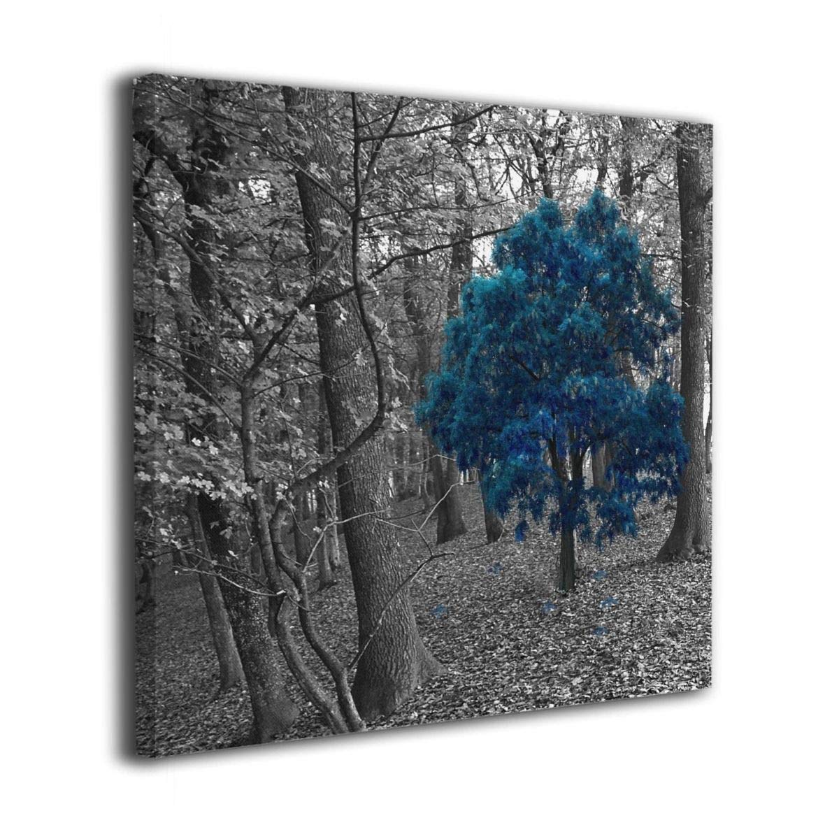 Arnold Glenn Black White Blue Tree Forest Picture Paintings Canvas Wall Art Prints Modern Home Decoration Giclee Artwork-Wood Frame Gallery Stretched