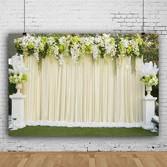 Lawn Wedding Ceremony Scene Backdrop 7x5ft Vinyl Sunny Day White Iron Guest Chairs Artistic Flower Stand Grassland Trees Photography Background Bride Groom Wedding Portrait Shoot