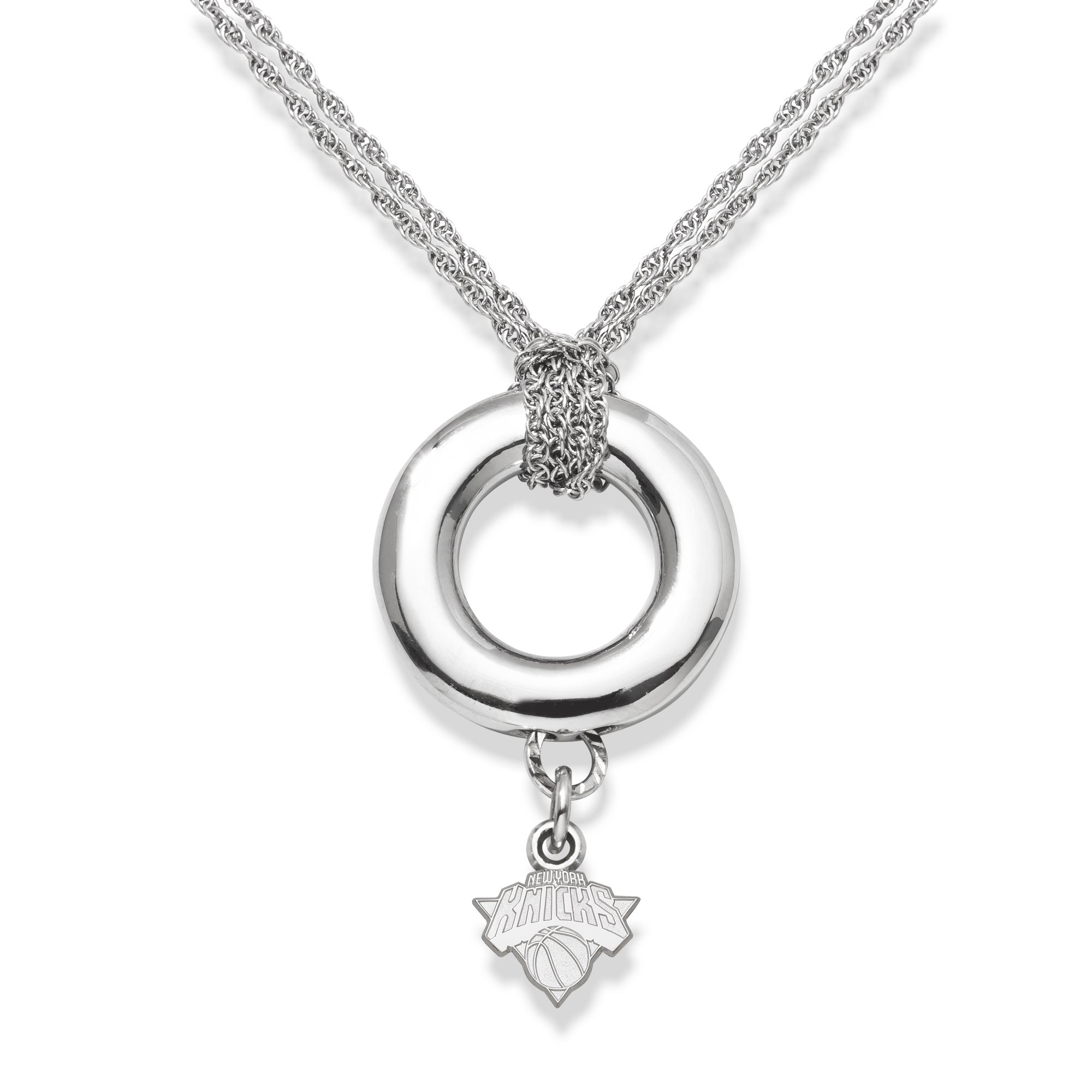 NBA LogoArt New York Knicks Sterling Silver Halo Necklace