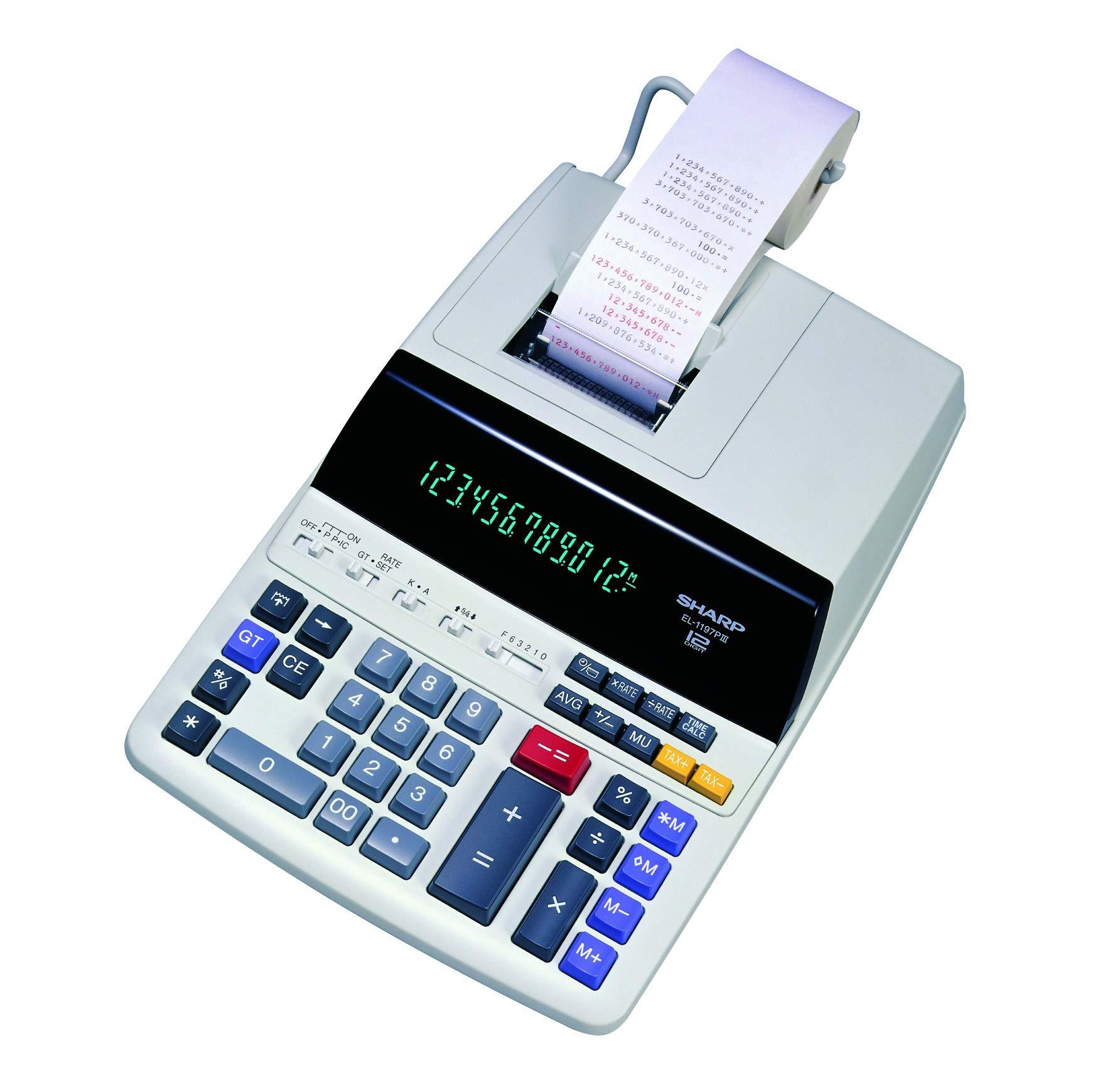 Sharp EL-1197PIII Heavy Duty Color Printing Calculator with Clock and Calendar by Sharp