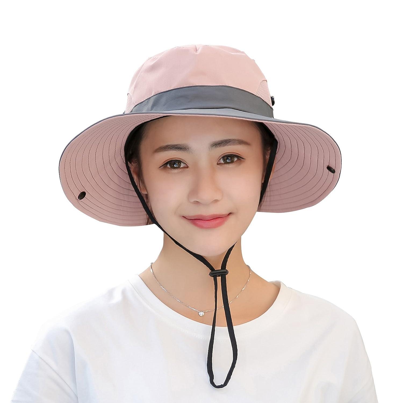 b36808c35b348 Sun Hats Muryobao Womens Summer Sun Hat Wide Brim UV Protection Ponytail  Bucket Cowboy Hats