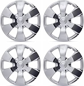 """Chrome Hub Caps Covers for 16"""" Wheels – Four (4) Pieces Corrosion-Free & Sturdy – Full Heat & Impact Resistant Grade – OEM Style Toyota Camry Replacement"""