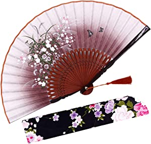 "Amajiji 8.27"" Beautiful Hand-Crafted Chinese Japanese Hand held Folding Fan with First-Class Bamboo Spins and Traditonal Silk Fabrics HBSY (Brown)"