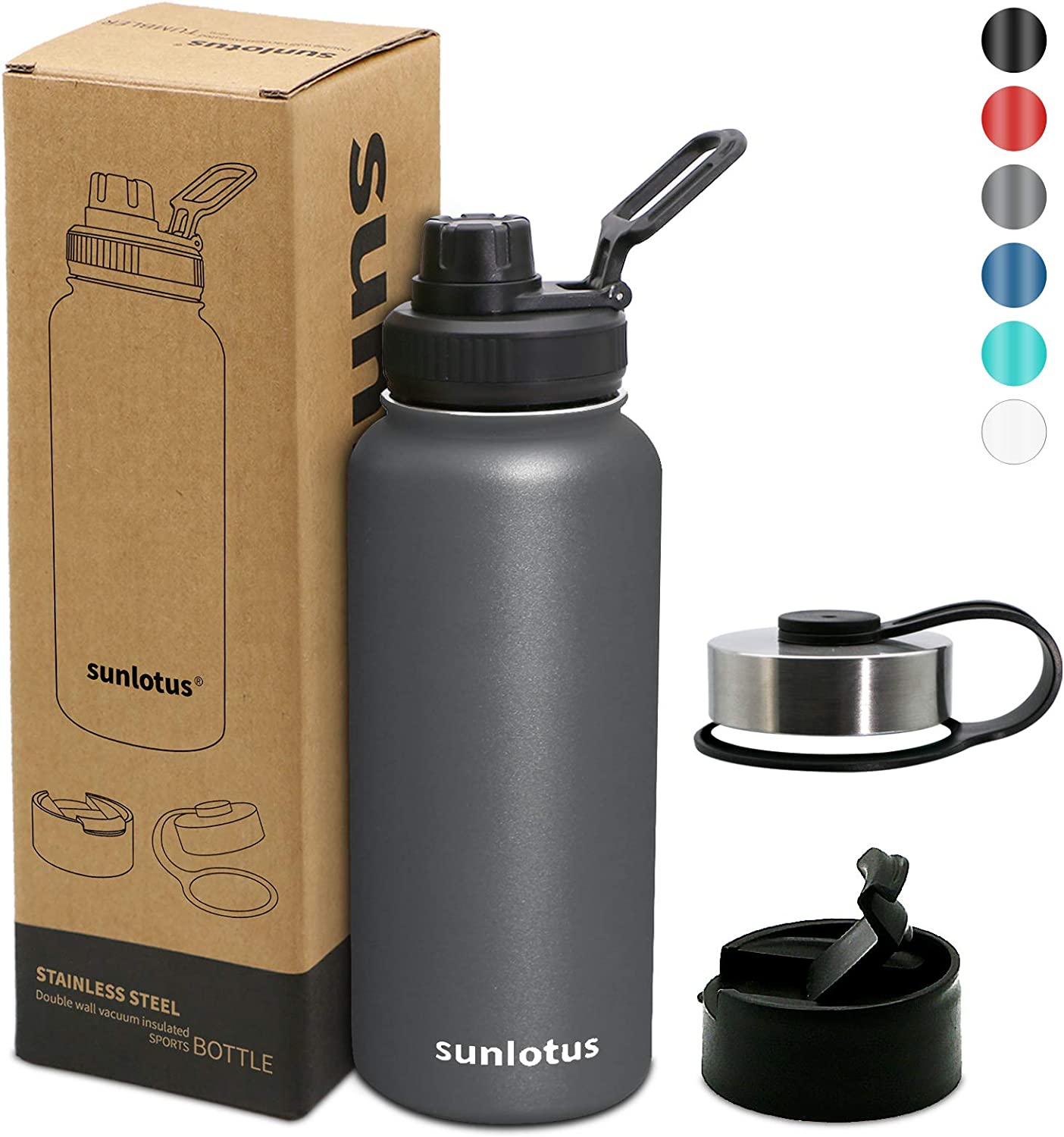sunlotus Fathers Day Stainless Steel Sports Water Bottle, Modern Wall Vacuum Insulated Wide Mouth with Straw Lid, Spout Lid 32 oz, 40 oz Sweat Free Thermos Mug