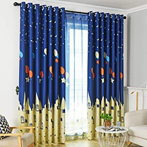 Autumn Dream Navy Blue Nursery Kids Blackout Curtains, Mediterranean Star Balloon Castle Grommet Top Bedroom Curtains for Kids (52by96),1 Panel