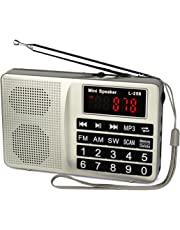 Retekess L-258 Radio Radios Portable Radio Digital Radio Shortwave Transistor Radio with AM FM Micro-SD Card AUX Input MP3 Player Speaker(Silver)