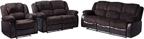 Furniture of America Calmen 3-Piece Champion Leatherette Recliners Set, Dark Brown Finish