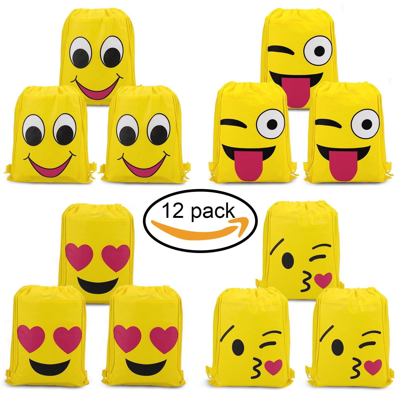 Konsait Emoji Bags for Emoji Party Supplies(12Pack), Emoji Drawstring Backpack Shoulder Bag Bulk Assorted Emoticon Party for Boys Girls Kids Birthday Candy Baby Shower Emoji Party Favors Gift by Konsait (Image #1)