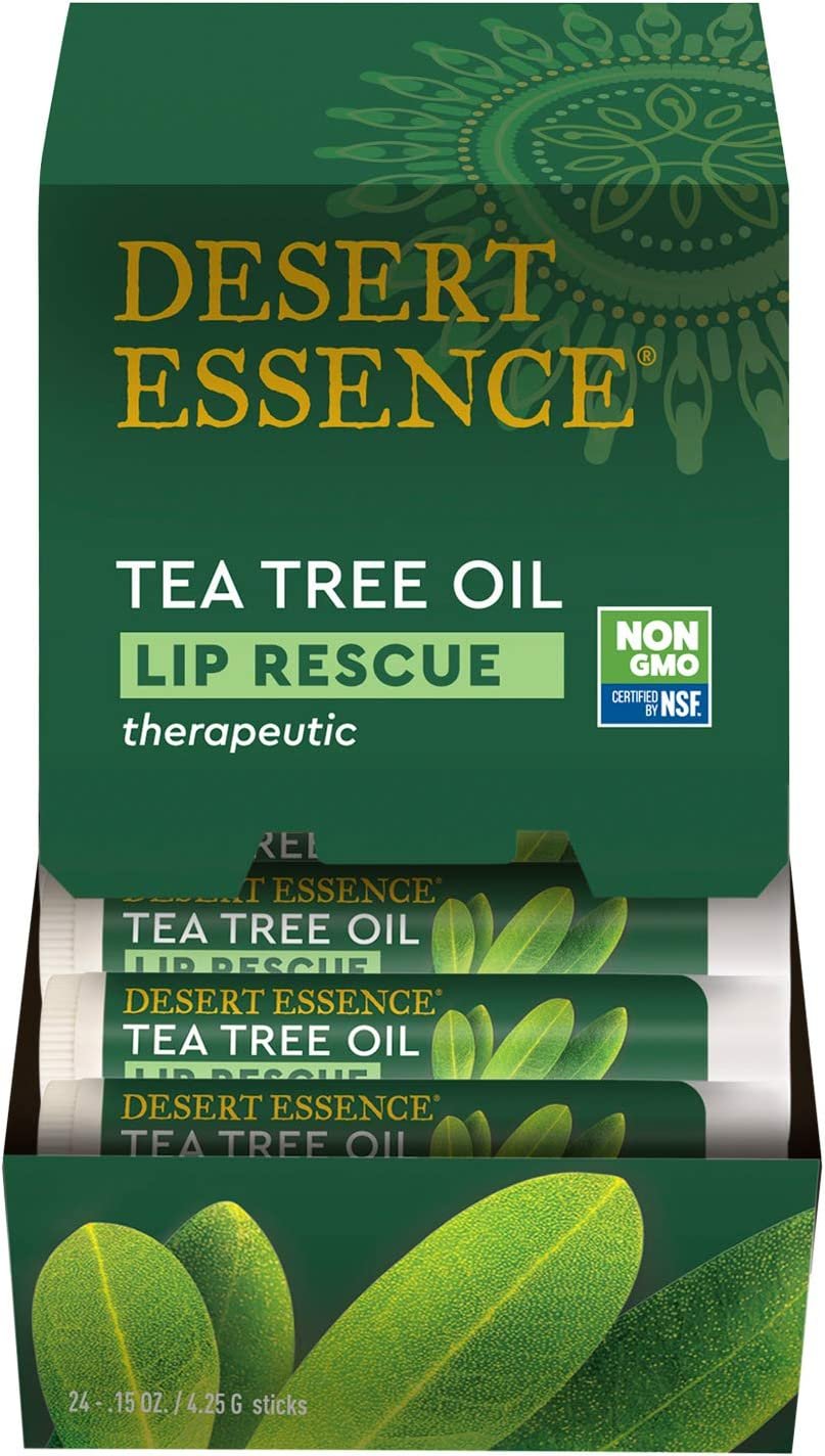 Desert Essence Lip Rescue Therapeutic with Tea Tree Oil - 0.15 Oz - Pack of 4 - Antiseptic Balm - for Cracked Lips, Cold Sores - for Softer, Smoother Lips - Unscented - Vitamin E - Aloe Vera