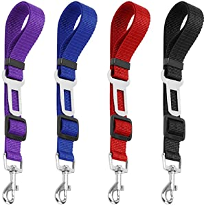 4 Pack Adjustable Pet Dog Cat Seat Belt, YuCool Safety Leads Vehicle Car Harness Seat Tether,Nylon Fabric- Black,Blue, Red, Purple