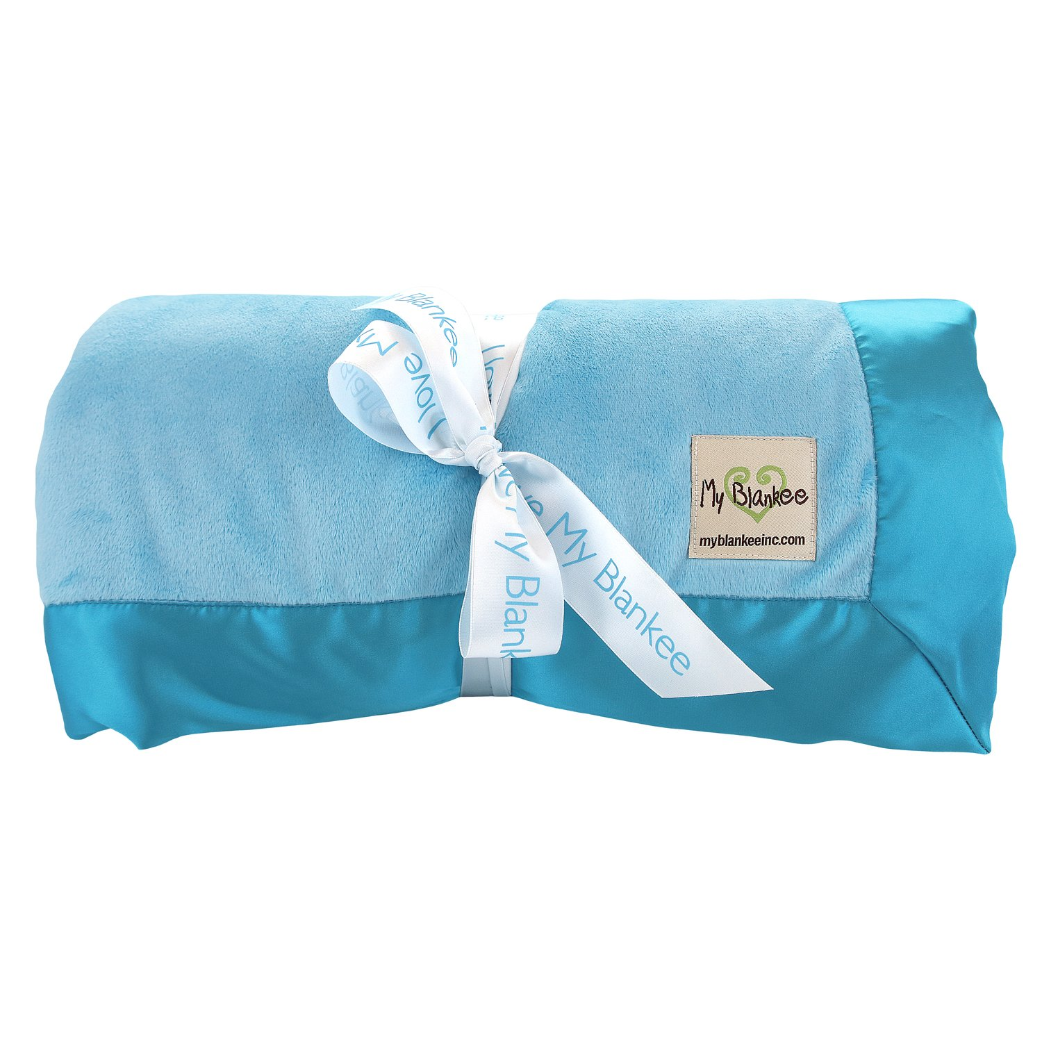 My Blankee Minky Solid Super King Blanket with Flat Satin Border, Turquoise, 114'' x 94''