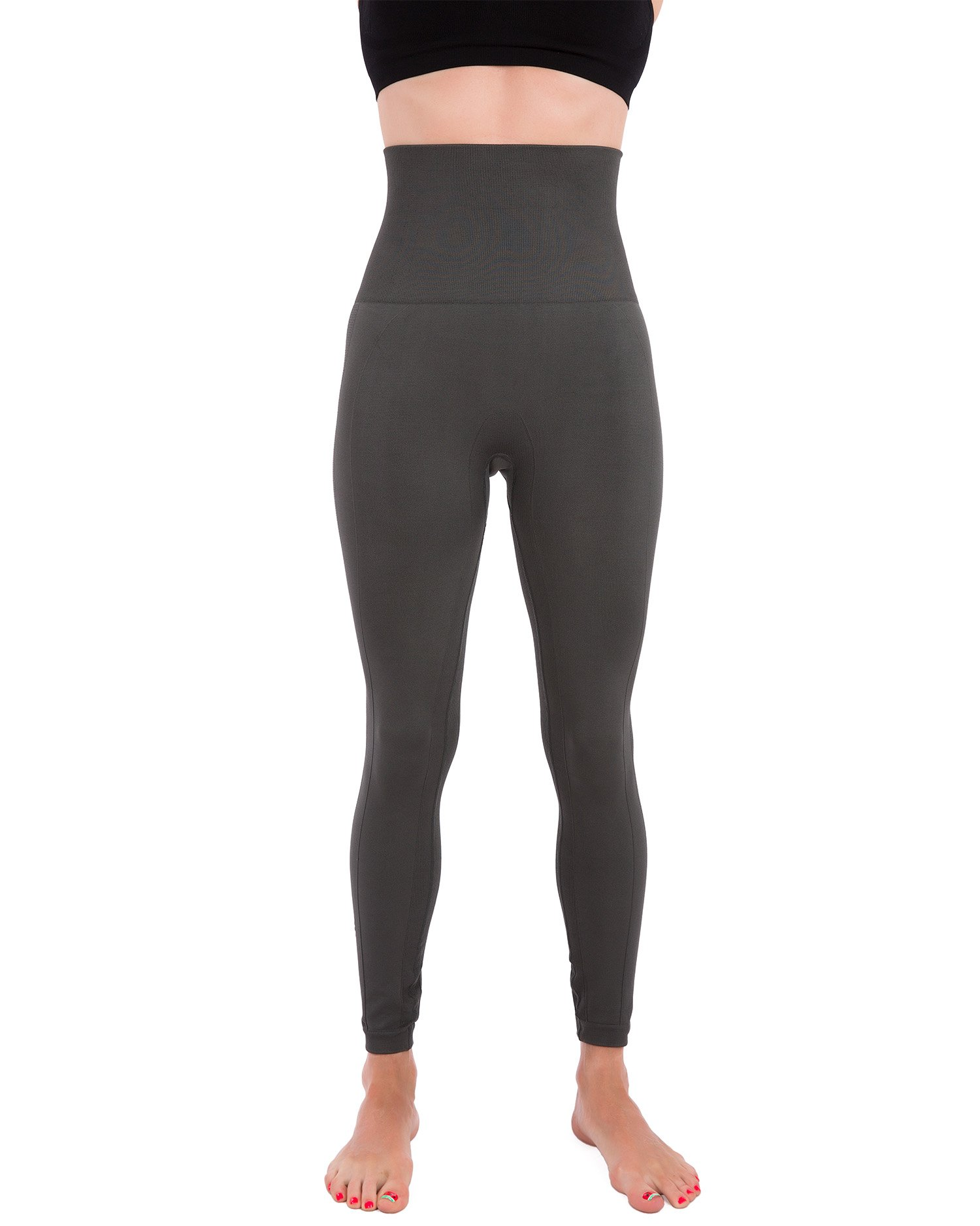 Homma Activewear Thick High Waist Tummy Compression Slimming Body Leggings Pant (Large, Charcoal)