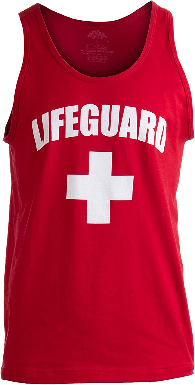 Lifeguard | Red Adult Lifeguarding Uniform Costume Unisex Tank Top Men Women: Clothing