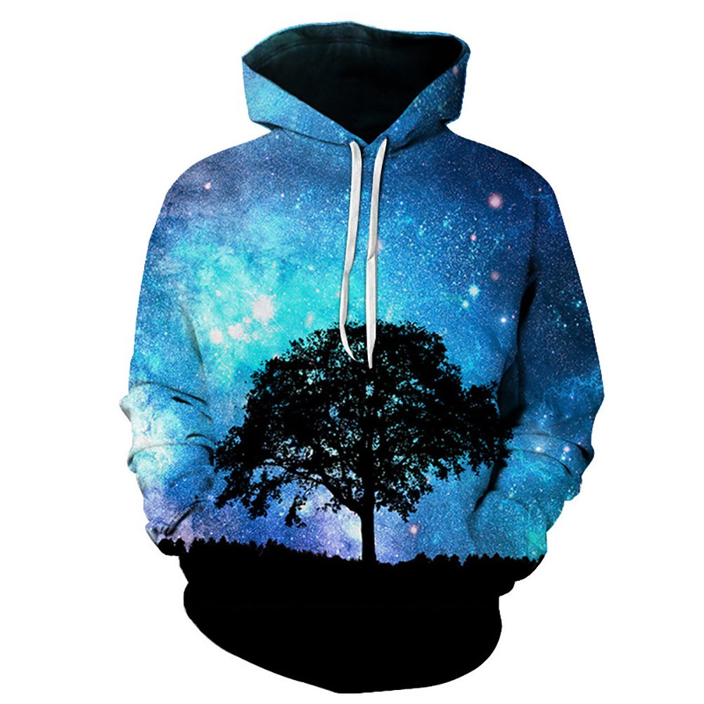 Eaglebeky Galaxy Woods Printed Hoodie Unisex Sweatshirts Boy Pullover Fashion Animal Streetwear Clothes (1, 5XL)