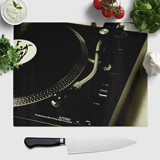 Arty pie 1 x Tabla de cortar de cristal grande (39 x 30 cm) DJ ...