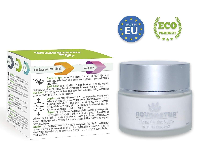 Crema facial antiarrugas de Colágeno hidrolizado, Células Madre de Manzana y Citoquinas, Ácido Hialurónico, L-Arginine y extracto de olivo.