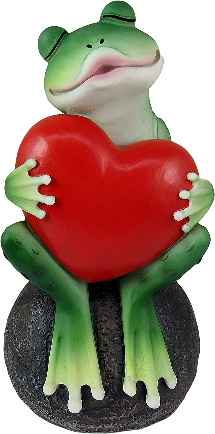 DWK - Prince Charming Awaits - Adorable Kissing Frog with Big Red Heart Collectible Indoor Outdoor Figurine Romantic Home & Garden Decor Accent, 6-inch…