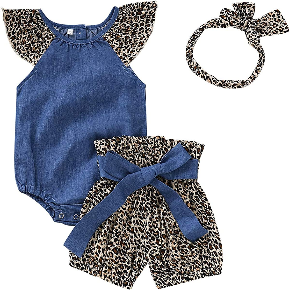 Headband Cute Outfits Set Leopard Shorts KIDSA 0-24M Baby Toddler Girl Summer Clothes Fly Sleeve Denim Romper