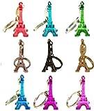 Tour Eiffel porte-clés -Souvenir de Paris France -  Lot de 9 (Couleurs assorties)