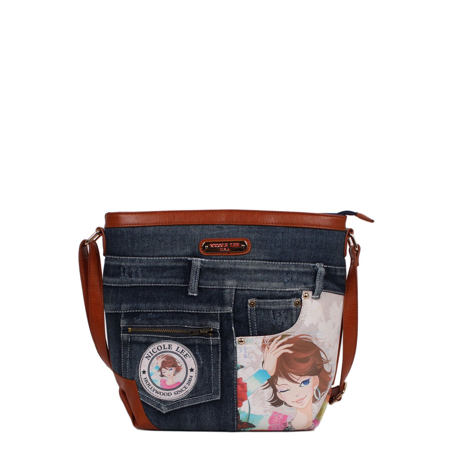 Nicole Lee Wanda Denim Print Cross Body Bag (Xochil)