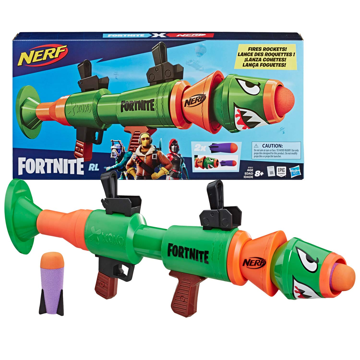 NERF Fortnite Rl Blaster -- Fires Foam Rockets -- Includes 2 Official Fortnite Rockets -- for Youth, Teens, Adults by NERF