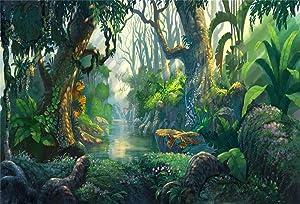 YEELE Enchanted Forest Backdrop 7x5ft Jungle Sunshine River Tree Photography Background Foggy Bush Nature Landscape Wonderland Baby Shower Kids Acting Show Fairy Birthday Photobooth Props Wallpaper