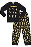 PyjamaFactory Emote Legend Dance Gaming All Over Gaming Negro Oro Algodón Pijama Largo