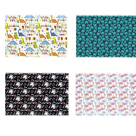 Amazon.com: 4 rollos de papel de regalo con diseño de ...