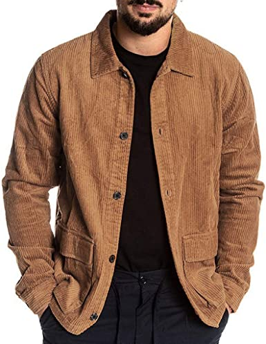 waotier Camisas Casual Chaquetas Hombre Otoño Moda Pana Abrigo Casual Manga Larga Color sólido Tops Botón Pana Blusa Casual: Amazon.es: Ropa y accesorios