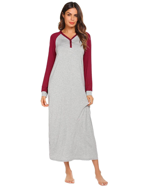 69d1ccbffe30 Ekouaer Sleep Shirt Women s Long Sleeve Sleepwear V-Neck Night Dress  Nightgown Loungewear S-XXL at Amazon Women s Clothing store