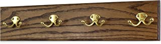 """product image for Oak Wall Mounted Coat Rack with Solid Brass Dual Style Hooks 4.5"""" Ultra Wide (Walnut, 20"""" x 4.5"""" with 4 Hooks)"""