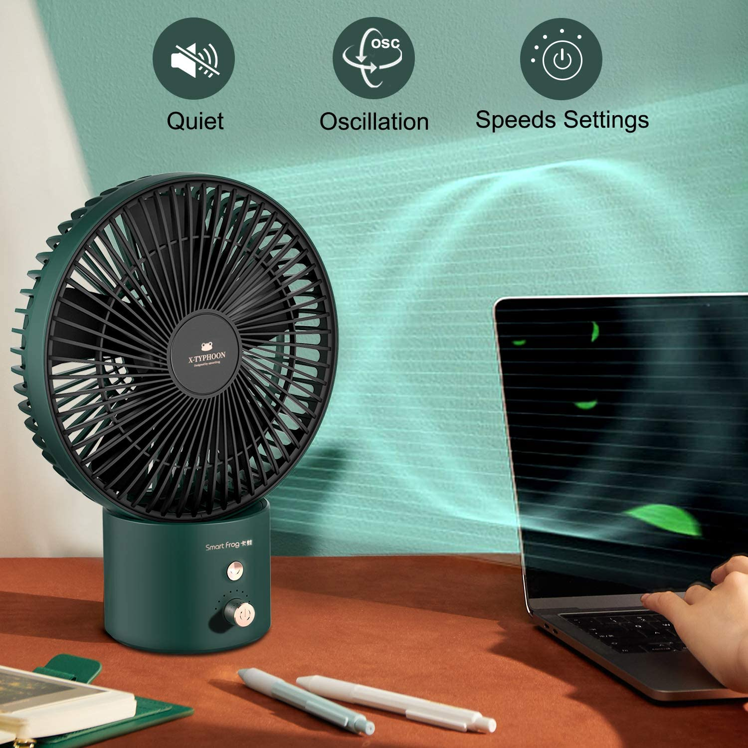 KOONIE 8-Inch Battery Operated Desk Fan, USB Table Fan Auto Oscillating, Stepless Speeds, Strong Airflow Whisper Quiet, 4000mah Capacity & Strong Airflow, 5 Blade, for Home Office, Camping Hurricane(Atrovirens)