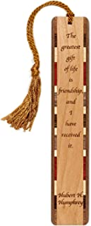 product image for Friendship Quote by Hubert Humphrey, Engraved Wooden Bookmark with Tassel - Search B07R2Q7Z4X to see personalized version