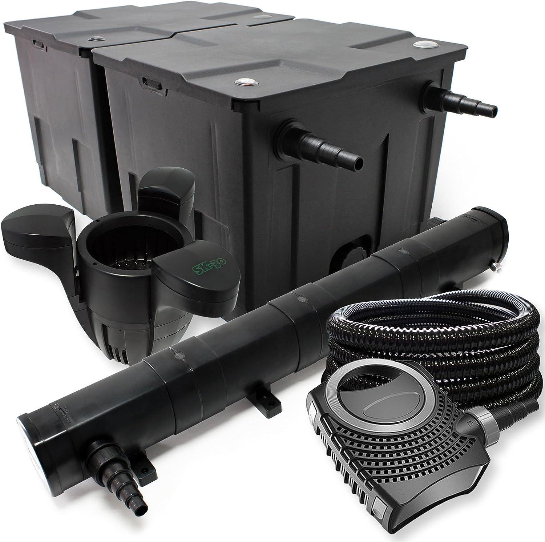 Kit de Filtration avec Bio Filtre 60000l 72W UV St/érilisateur Pompe de Bassin Skimmer et Tuyau