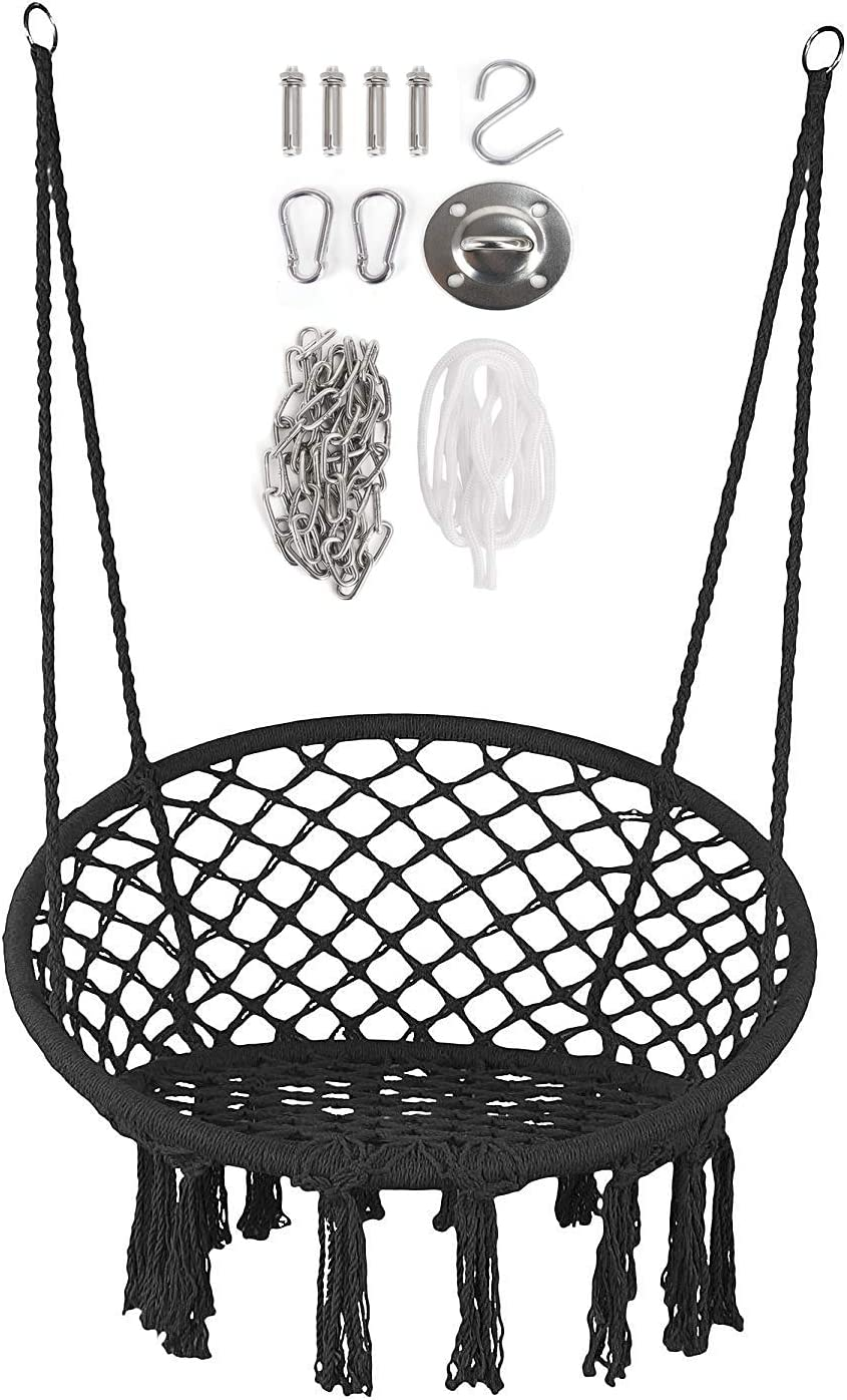 Black Ceiling Handmade Knitted Cotton Rope Indoor Heavy Duty Hanging Hammock Garden Swing Seat for Adults Kids Various Installation for Home Door Moonlove Tassel Round Hanging Swing Chair Tree