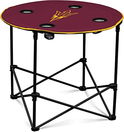 Maize Michigan Wolverines Collapsible Round Table with 4 Cup Holders and Carry Bag Blue