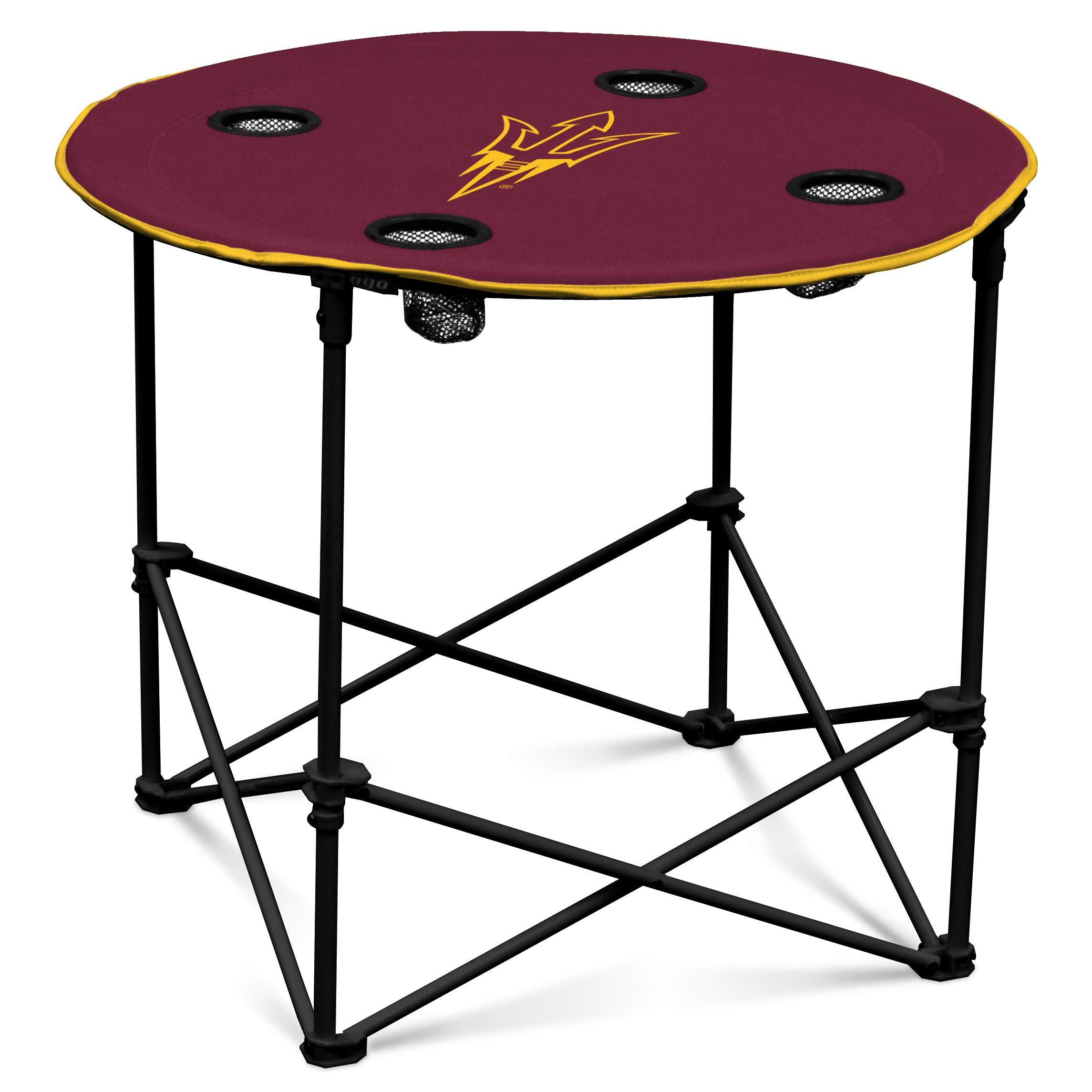 Arizona State Sun Devils Collapsible Round Table with 4 Cup Holders and Carry Bag by Logo Brands