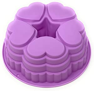 """Silicone Heart Bundt Pan: Non-Stick Round Bundt Cake Jello Mold for Valentine's Day or Anniversary Party 9"""" Across Colors Vary"""