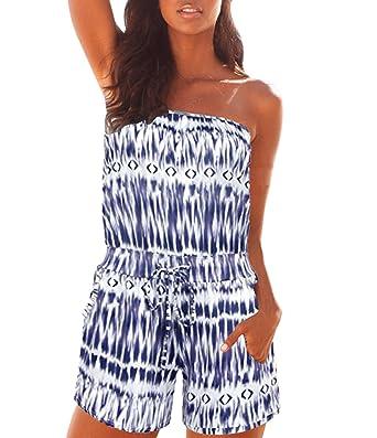 f52e1c3d57b Nergivep Women s Floral Print Beach Slash Neck Strapless Off Shoulder Short  Romper Playsuit Jumpsuit