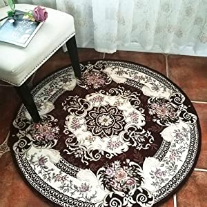 HiiARug Round Area Rugs for Swivel Chair 3ft Vintage Medallion Area Rug Traditional Oriental Area Rug Floral Rug Easy Clean Washable Woven Pattern Living Dining Room Rug(Round 3', Brown2C)