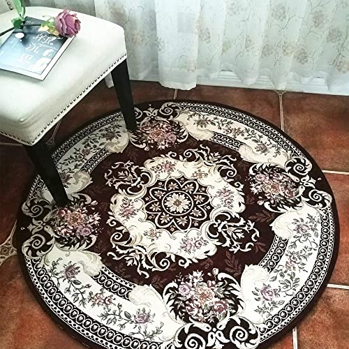 Hihome Round Area Rugs for Swivel Chair 3 ft Indoor Round Floral Rug Easy to Clean Washable Woven Pattern No Fading Living Dining Room Rug Round 3 , Brown R90