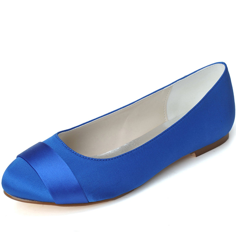 Qingchunhuangtang@ Bombas Wommen Puntilla Raso bajo el Talón Cerrado Toe Zapatos de Baile para Boda Fiesta Prom de Tamaño Grande,Blue,35 35|El azul