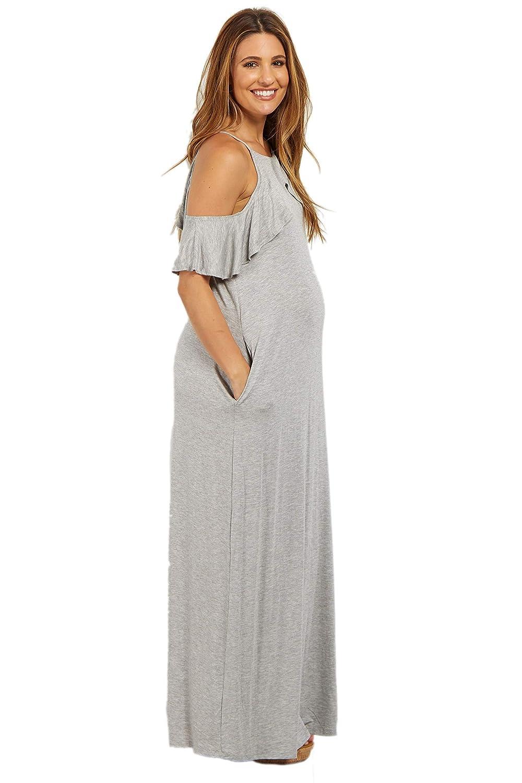 419744529b920 PinkBlush Maternity Heather Grey Ruffle Trim Open Shoulder Maxi Dress,  Medium at Amazon Women's Clothing store: