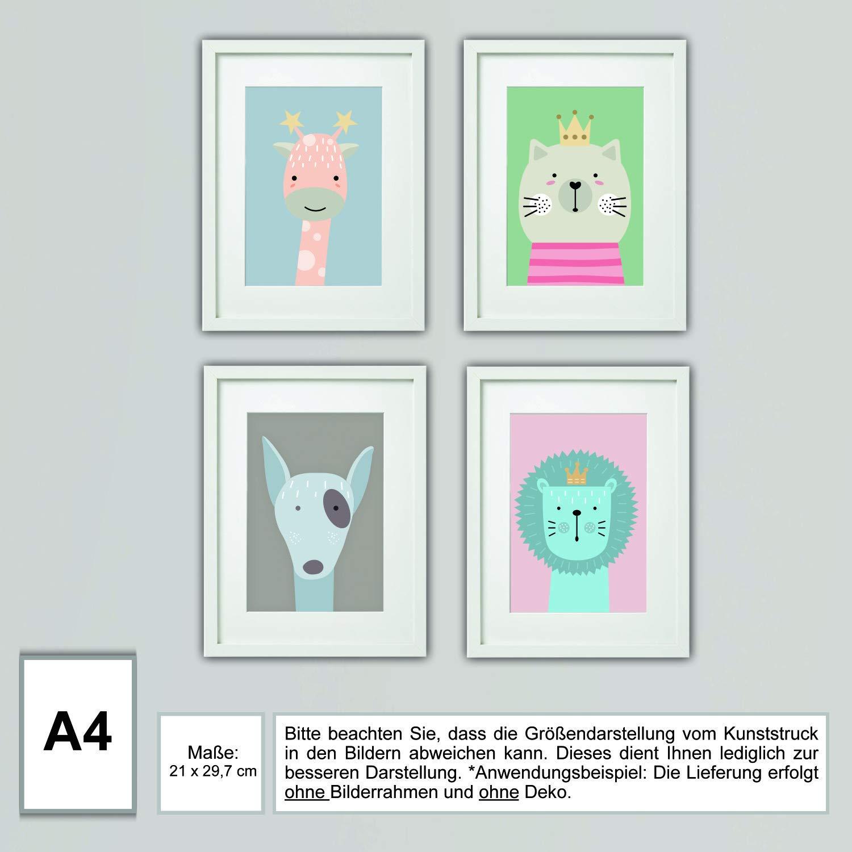 farbig Kinderzimmer Bilder 4er Set Babyzimmer Tier Bilder DIN A4 f/ür M/ädchen /& Jungen mit und ohne Hintergrund Baby Tiere Babyzimmer #4