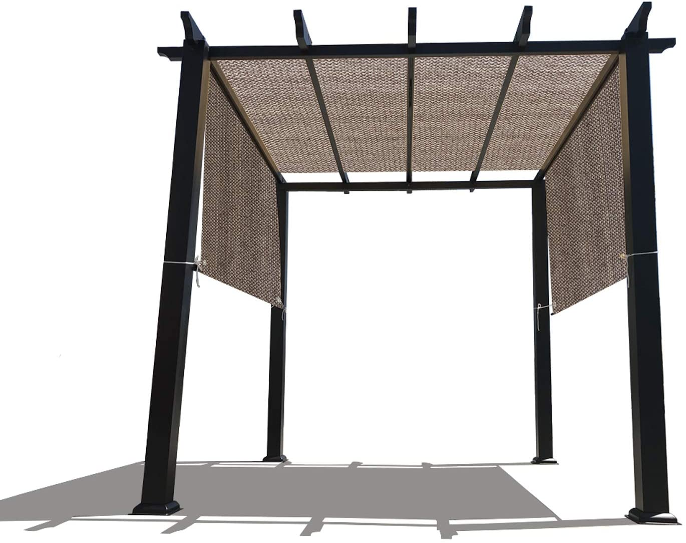 Alion Home Custom HDPE Permeable Canopy Sun Shade Cover Replacement with Rod Pockets for Pergola (14' x 9', Walnut)