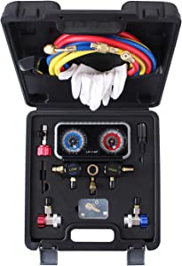 Lichamp R134A AC Gauge Set, Diagnostic Manifold Gauge Compatible with R134A R12 R22 R502 Refrigerants, Works on Freon Charging and Evacuation