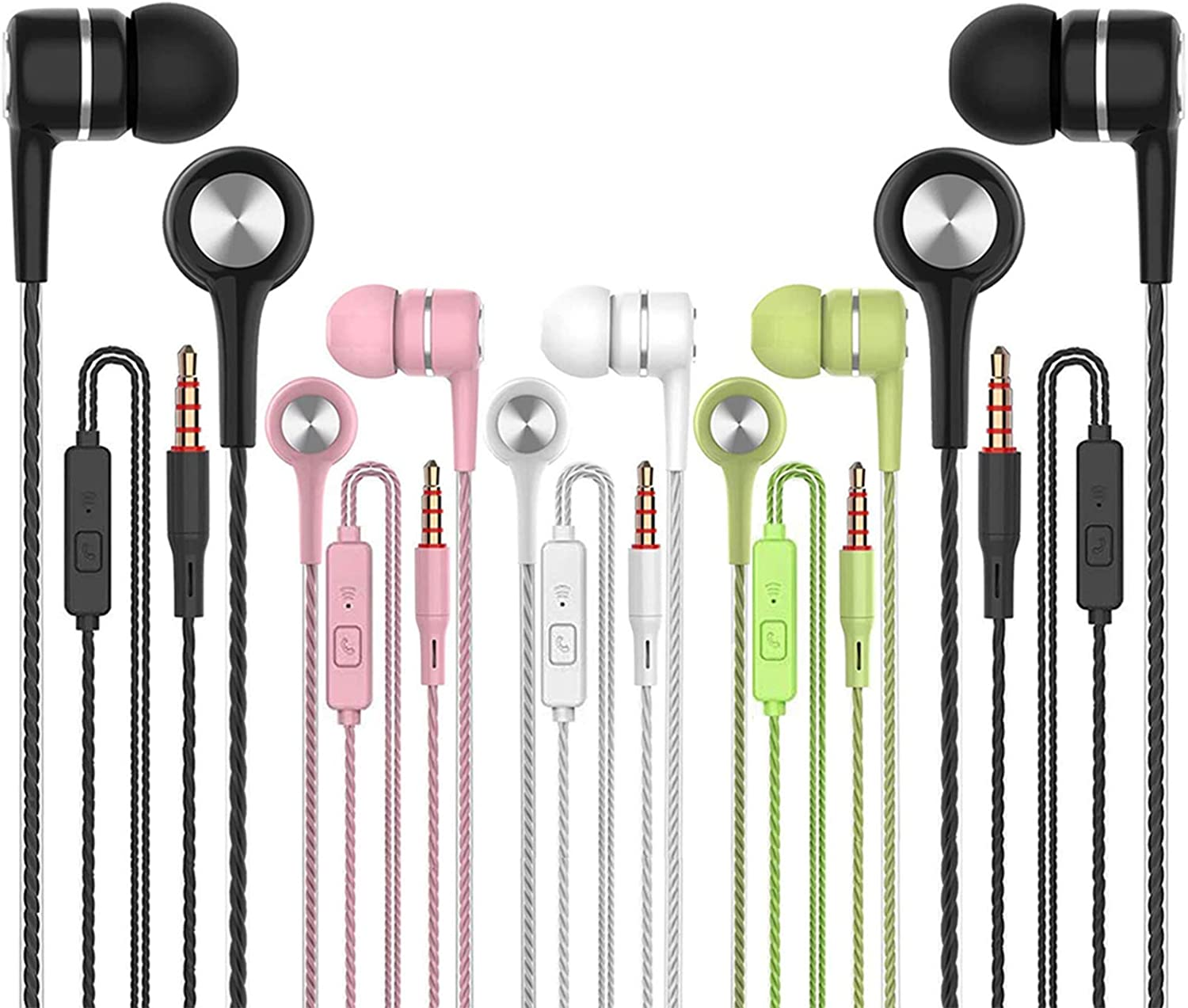 Earbuds Earphones with Microphone,5pack Ear Buds Wired Headphones,Noise Islating Earbuds,Fits 3.5mm Interface for iPad,iPod,Mp3 Players,Android and iOS Smartphones(Black+Pink+White+Green)