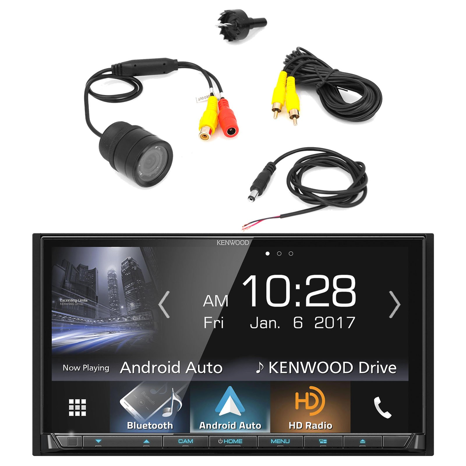 Kenwood DDX9704S 2-DIN In-Dash DVD/CD/AM/FM Car Stereo Receiver with PYLE PLCM22IR Flush Mount Rear View Camera with 0.5 Lux Night Vision