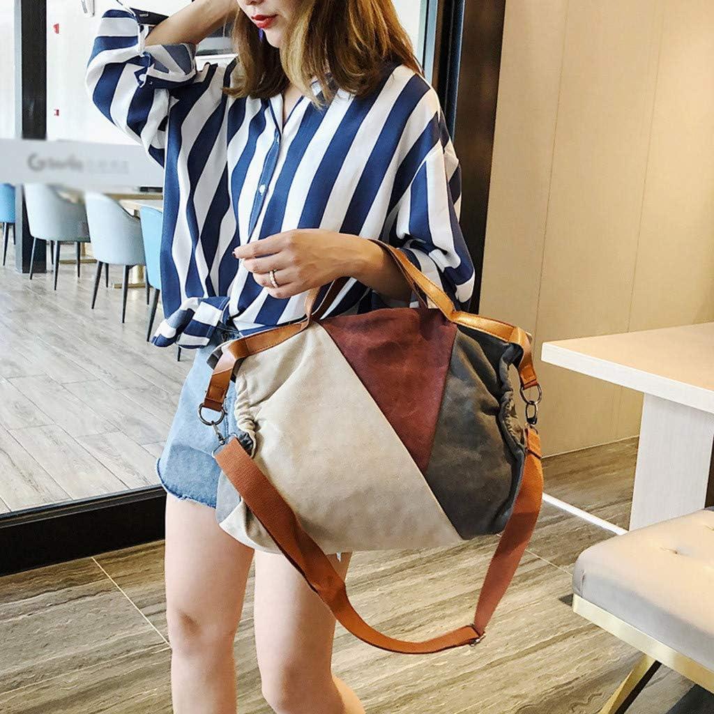 Seaintheson Womens Large Capacity Handbags Versatile Canvas Shoulder Diagonal Bags Student Crossbody Bags Hobo Bags